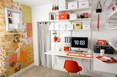 Smart and Creative Workspaces Design Ideas: cheerful wallpaper in office workspace plus white floating shelving systems