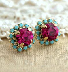 Pink Turquoise petite Rhinestone Crystal stud pink by iloniti, $28.00