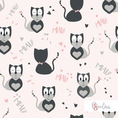 Cute cats - textile surface pattern design for girls with gray cats on pink background with hearts and bows.