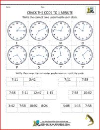 Time worksheet - crack the code by matching the correct time to the nearest minute.