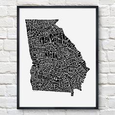 Georgia Typography Map Print