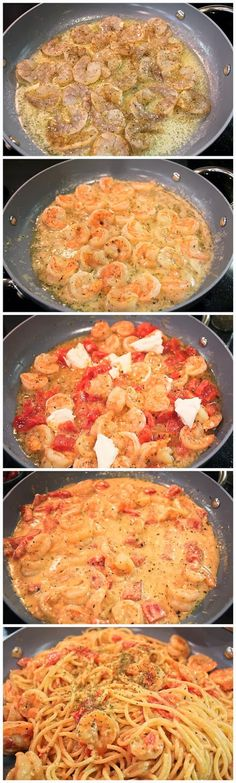 Creamy Shrimp Pasta (would be good with roasted red peppers, spinach, peas)