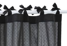 I love the bows at the top! Swiss Dot Shower Curtain, Charcoal on OneKingsLane.com
