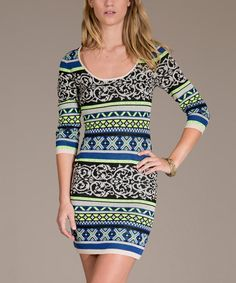 Love this Blue & Green Filligree Scoop Neck Bodycon Dress by Flying Tomato on #zulily! #zulilyfinds