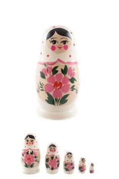 Russian Babushka dolls www. Russian Babushka, Russian Art, Folk Art Flowers, Flower Art, Stone Painting, Painting On Wood, Janus, Matryoshka Doll, Idee Diy