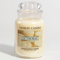 Yankee Candle Buttercream Large Jar. Love this candle- I only wish it had a stronger scent when burned. still, great for those who like a light scent.