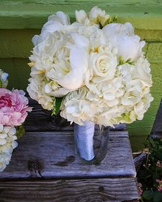 white peony and hydrangea bouquet from The Greenery