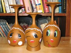Gingerbread Men Wine Glass Candle Holders by ButterflyKisCreation, $30.00