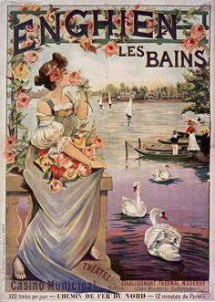 Vintage Travel Poster - Enghien-les-Bains - by Raymond Tournon - France.