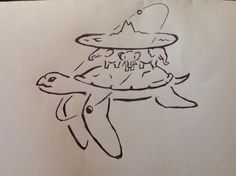 Great A'Tuin carrying the Discworld Ref T Pratchett Drawn by .. https://www.facebook.com/pages/Amys-Unofficial-Discworld-Doodles/1627810067441786?ref=ts&fref=ts