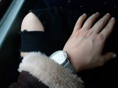 H&M watch, ripped jeans and brown leather jacket 😉