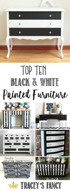 All of these pieces has so much character! Top Ten Black and White Painted Furniture Ideas by Tracey's Fancy | Black and White Furniture : Dressers, desks, headboards and more | Painting Tips | Painted Furniture Ideas | How to Paint Furniture | Furniture Finish