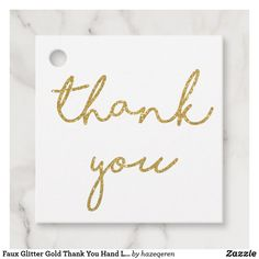 Faux Glitter Gold Thank You Hand Lettering Simple Favor Tags #favor #tags #favortags #thankyoutags #ad #gold #glitter