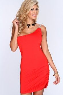 Red One Shoulder Strap Sexy Party Dress