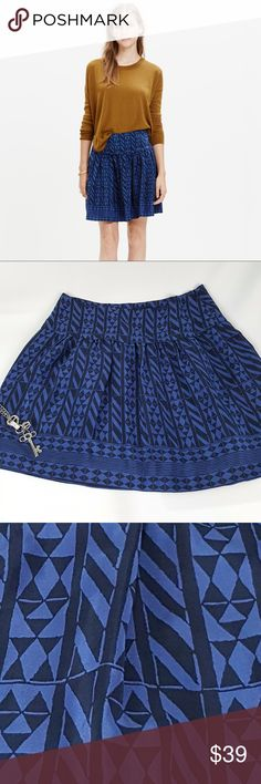 """Madewell Silk Skyline Skirt Geometric Stripe MADEWELL!  This striking mini skirt features 100% silk with a geometric stripe blue and navy print all over; side zip. Dress up or down. Size 2  Waist:  13.5"""" Hips:  20.5"""" Waist to Hem:  16.5"""" *measurements are taken laying flat and are APPROXIMATE*  ALL ITEMS FROM A SMOKE FREE HOME  #M-28 SASS-350 Madewell Skirts Mini"""