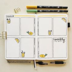 Super cute spring weekly spread by @productivedoodling 🍋🍋