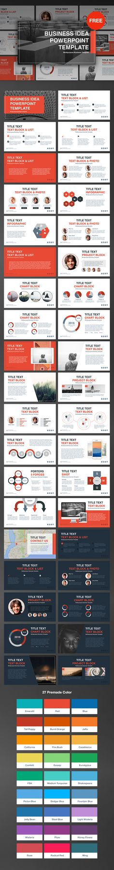 """FREE DOWNLOAD PowerPoint Template: http://site2max.pro/business-idea-free-powerpoint-template/ 31 slides, PPTX format, 16:9 HD, free support, 27 premade color, """"drag & drop"""", light & dark versions.  #free #freebie #freebies #ppt #pptx #powerpoint #template #theme #site2max #design #red #emerald #hd #business #idea #marketing"""