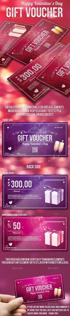 Valentine's Day Gift Voucher Template PSD | Download: http://graphicriver.net/item/valentines-day-gift-voucher/10010177?ref=ksioks