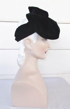 30s 40s Vintage Black Velvet Tilt Hat by MyVintageHatShop on Etsy