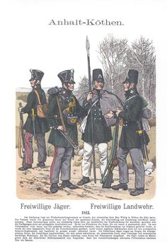 Band XVI #3.- Anhalt. 1813. Freiwillige Jäger (Köthen). Freiwillige Landwehr (Köthen).