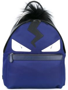 c11e5a459 Fendi backpack bag bugs backpack blue black fox fur monster eyes  7vz0128fmf06hv