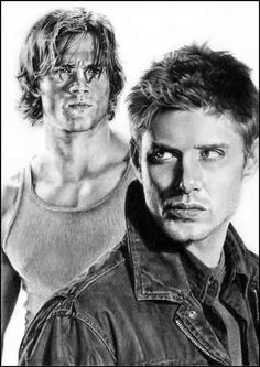 Jensen Ackles and Jared Padalecki as Dean and Sam Winchester from Supernatural. Fan Art