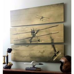 WWI Bi-Plane Dimensional Aviation Triptych Would be an awesome thing in the office behind the desk. Deco Aviation, Aviation Theme, Aviation Art, Aviation Furniture, Airplane Decor, Nostalgic Art, Air Festival, Vintage Airplanes, Triptych