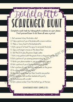 Printable bachelorette scavenger hunt game by PrettyPrintablesInk Bachelorette Scavenger Hunt, Bachelorette Itinerary, Scavenger Hunt Games, Bachelorette Party Themes, Bachlorette Party, Bachelorette Weekend, Bachelorette 2017, Hens Party Invitations, Wedding Invitations