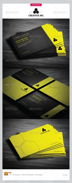 Yellow & black corporate business card design - cketch.com