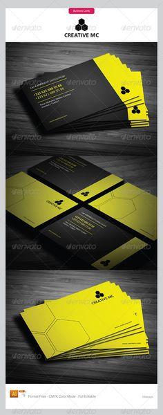 Yellow & black corporate business card design - cketch.com
