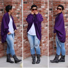 DIY Purple Cocoon Sweater Distressed Jeans, Steve Madden Moto Boots (Caveat)