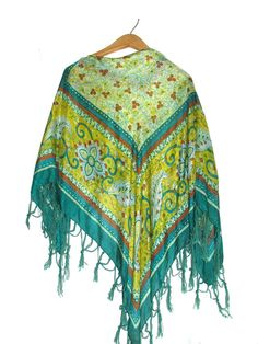 VTG SILK Green  Turquoise Yellow & Cinnamon by AmyVintagetreasures, $34.00