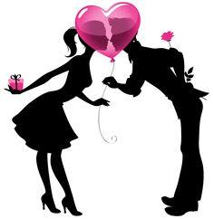 Valentine Silhuetas dos pares com Balão Coração PNG Clip Imagem