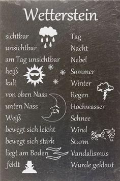 """Schiefer Wetterstein Wetterstation Wetterschild """"Stein wech"""" Schild Wunsch…"""