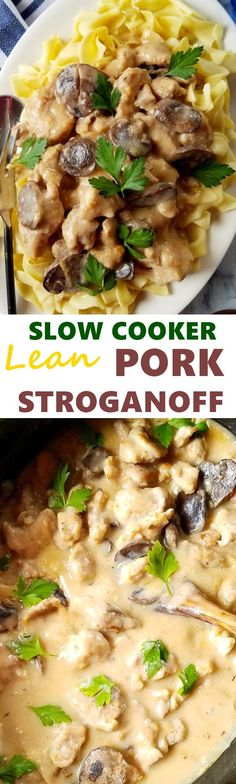 Slow cooker lean pork stroganoff is an easy and comforting dish ideal for those busy week days. It can be served over egg noodles or with a hard crusted bread.