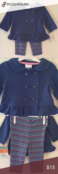 NWT Carter's Jacket & Legging Set Navy blue button up lightweight jacket with striped leggings ~ Size 3 Months Carter's Matching Sets