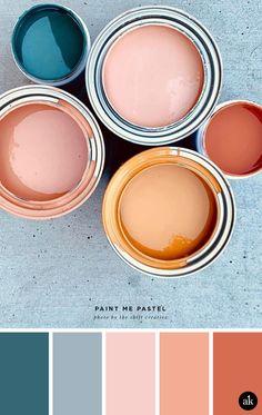 a pastel-paint-inspired color palette // blush salmon (pink) orange indigo blue . - a pastel-paint-inspired color palette // blush salmon (pink) orange indigo blue // photo by Shift C - Colour Pallette, Color Combos, Neutral Palette, Orange Palette, Paint Color Palettes, Warm Color Palettes, Rust Color Schemes, Exterior Color Palette, House Color Palettes