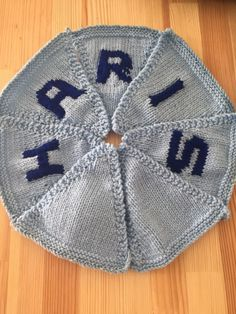 "Handmade Personalised Knitted Bunting ""Haris"" Gift Baby Toddler  