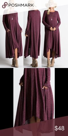 Wine Ribbed Maxi Dress Loose fit maxi dress. Long sleeves. Scoop neck. Slight shark bite front hemline. Ribbed fabric consists of 95% polyester, 5% spandex. Made in U.S.A.. Brand new boutique retail w/o tag. No trades, no off App transactions or negotiations. Touch Buy Now and you will be prompted to select size. SHIPS FRIDAY    PRICE IS FIRM UNLESS BUNDLED❗️ Dresses Maxi