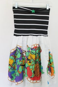 haha love it! Teenage Mutant Ninja Turtles Party DRESS Green Black by lynnsrags, $55.00 ooooh for me! Mom of the birthday boy! ;) lol!