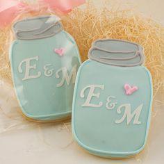 Mason Jar Sugar Cookies, Monogrammed, Vintage - 1 Dozen Decorated Cookies on Etsy, $33.00