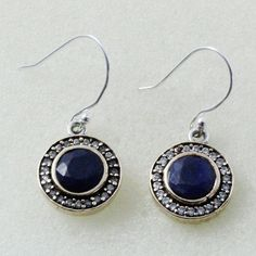SAPPHIRE STONE & CUBIC ZIRCONIA UNIQUE DESIGN 925 STERLING SILVER EARRING #SilvexImagesIndiaPvtLtd #DropDangle
