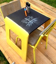upcycled childrens furniture set, blackboard table and two vintage style chairs