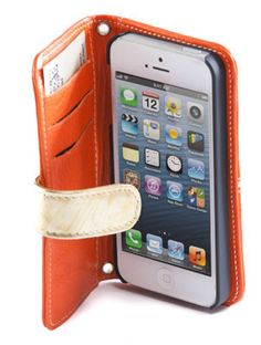 AMAZON   Handmade luxury tangerine leather phone case with gold strip and flap