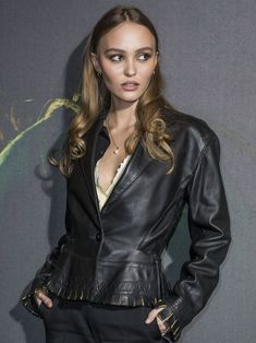 Lily Depp, Lily Rose Depp Style, Cool Style, Cool Outfits, Leather Jacket, Celebs, Photoshoot, Long Hair Styles, Clothes