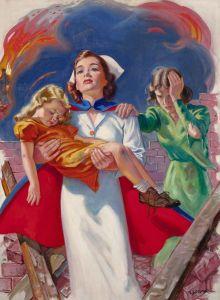 Rescuing the Children ~ probable WWII era Red Cross advertisement by Ellen Barbara Segner. Vintage Nurse, Vintage Art, Vintage Medical, Retro Art, Nurse Drawing, History Of Nursing, Medical History, Nurse Aesthetic, Flight Nurse