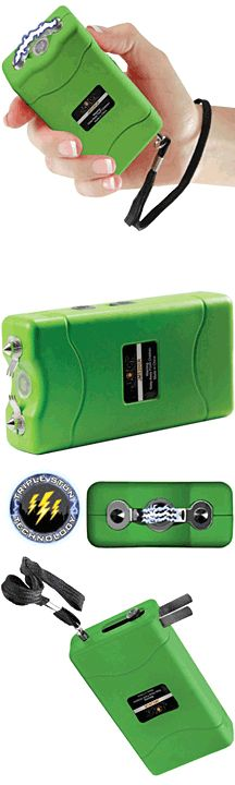 Zombie Mini Stun Gun with 20 Million volts of triple stun technology, built-in charger, bright LED flashlight,  safety switch, rubberized armor coating to protect the unit and ensure a firm grip, and FREE holster.