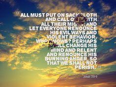 Jonah 3:8-9 Prophet Jonah, Behavior, Bible, Mindfulness, Let It Be, Movie Posters, Behance, Biblia, Film Poster