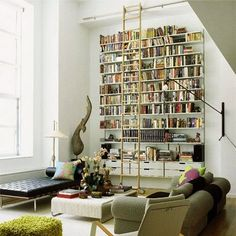 tall wall bookcase for the vaulted ceilings in the living room