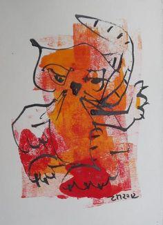 Tuschezeichnung mit der Bambusfeder auf dickem hellbeigen Künstlerpapier 25x17cm - ein Original sign/Dat
